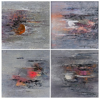 The Moon 8, quadriptych