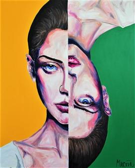 "Yellow Green Girl 2 Acrylic on Canvas 39.5"" x 31.5"""