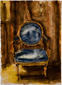 """Spanish Royal Chair Watercolor on Paper 45"""" x 29.5"""""""