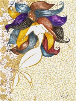 """La Moza Black Fine Point Pen & Colored Markers on Paper 17"""" x 11"""""""