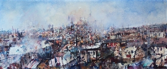 "Paisaje Industrial Watercolor 10.5"" x 27.5"""