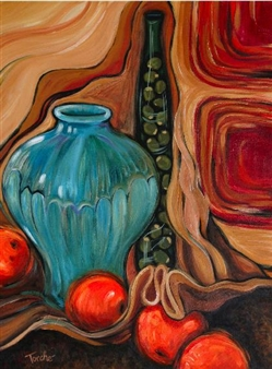 "Blue Vase with Oranges Acrylic on Canvas 24"" x 18"""