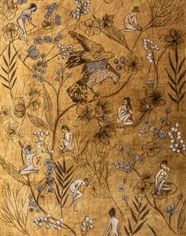 "Badende Acrylic & Gold Leaf on Canvas 39.5"" x 31.5"""