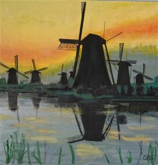 """Molinos de Amsterdam Oil on Canvas 23.5"""" x 23.5"""""""