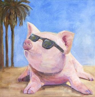 """Bacon in the Sun Oil on Canvas 20"""" x 20"""""""
