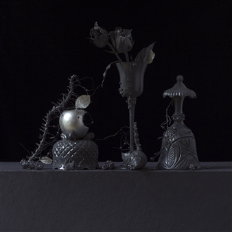 """Still Life in Grey with Familiar Apple / second variation Archival Pigment Print 20"""" x 20"""""""