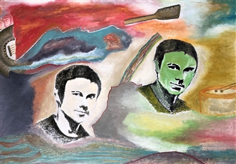 """Singer and Oscar Oil on Canvas 21.5"""" x 27.5"""""""