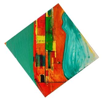 "City of Glass 37 –  (PLOT.noun, PLOT.verb) Oil on Canvas 39.5"" x 39.5"""