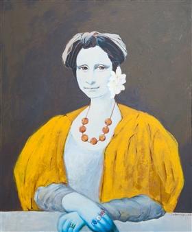 "The Lady On Her Balcony Oil & Acrylic on Canvas 36"" x 30"""