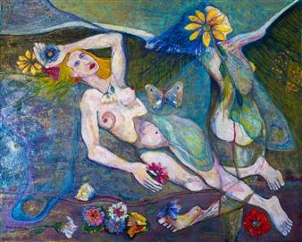 """Mariposas del Eden Acrylic on Canvas 40"""" x 50"""""""