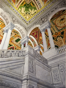 """Library of Congress Watercolor on Paper 22"""" x 16"""""""