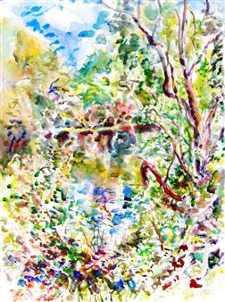 "Ipswich River, Topsfield, East View Watercolor on Paper 28"" x 21"""