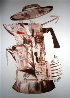 "De la serie Antiguos Elementos Oil on Paper 23.6"" x 15.7"""