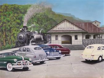 """Estacion de Honda No5 Oil on Paper (300g) on Canvas 16.5"""" x 22"""""""