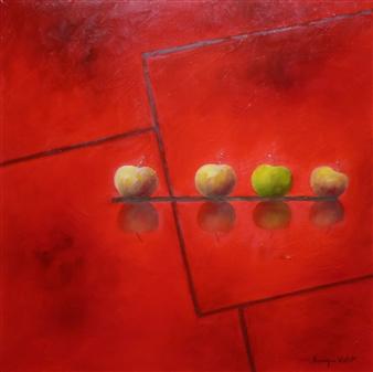 """Les Pommes, Carré Rouge Oil on Canvas 19.5"""" x 19.5"""""""