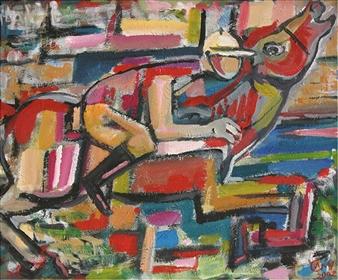 "Jockey Acrylic on Canvas 19.7"" x 23.6"""