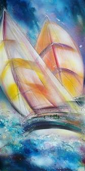 "Dansing Marine in Sunny Veils Acrylic on Canvas 39.5"" x 20"""