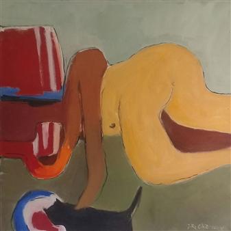 """Nu Couché Au Chat Noir Oil on Canvas 23.5"""" x 23.5"""""""