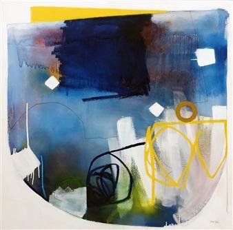 "Re-cognize Oil and graphite on Canvas 36"" x 36"""