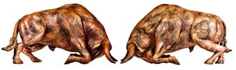 "Toros Peleando  (Bulls) Bronze 19.5"" x 12"" x 15.5"""