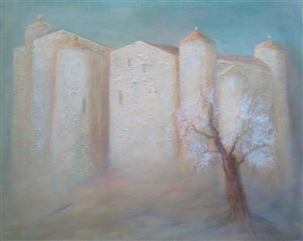 """Château des Saptes Acrylic on Canvas 31.5"""" x 39.5"""""""