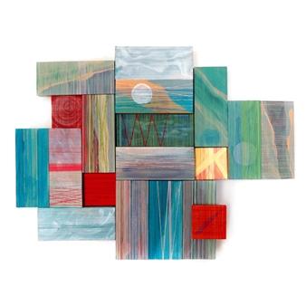 "Rainy Moon Acrylic & Thread on Wood 13"" x 17"""