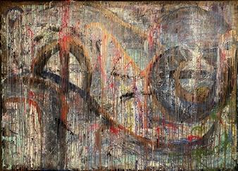 "Broken Hearts Make it Rain Acrylic on Canvas 77"" x 106"""