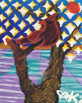 "Desert Snow Acrylic & Oil Pastel on Canvas 11.5"" x 9.5"""