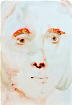 """Classic Face Watercolor & Ink on Paper 22"""" x 15"""""""