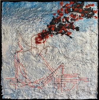 """Gran Finale Mixed Media on Industrial Substrate 49.5"""" x 49.5"""""""