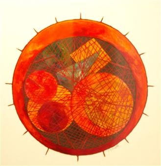 """Maternità  (Motherhood) Oil on Cardboard 21.5"""" x 21.5"""""""