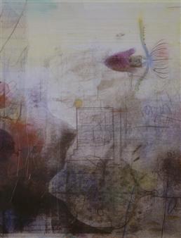 "Submerged Memories - Original work Mixed Media on Canvas 45"" x 34.5"""
