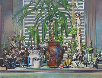 Still Life with Pottery, Plant and Cast