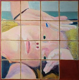"Fifteen Puzzle: Recumbent Girl #1 Acrylic on Canvas 12"" x 12"""