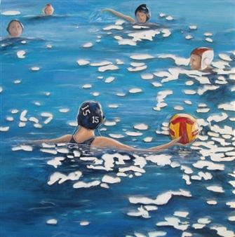 "Waterpolo Acrylic on Canvas 36"" x 36"""
