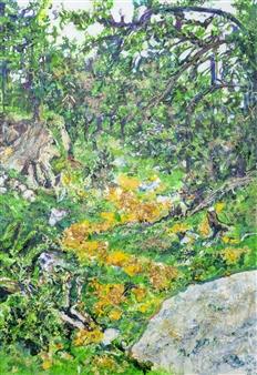 """Camino de Baldosas Amarillas II Mixed Media on Canvas 28"""" x 20"""""""