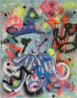 "Angry Man Acrylic & Spraypaint on Canvas 39.5"" x 31.5"""
