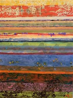 "Island Striation Oil & Acrylic on Canvas 30"" x 24"""