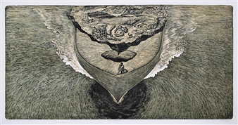 """The Carrier Wood-Cut Print on Paper 24"""" x 48"""""""