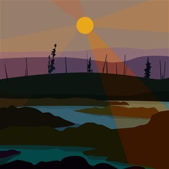 """Taiga Digital Print on Fine Art Paper 18"""" x 18"""""""