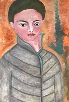 "Boy in Great Coat Oil on Canvas 27.5"" x 21.5"""