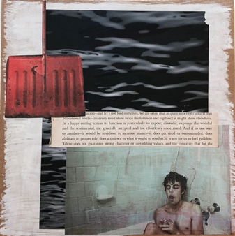 """Talent Does not Guarantee Mixed Media & Collage on Board 12"""" x 12"""""""