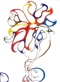 "Aires de Libertad Black Fine Point Pen & Colored Markers on Paper 17"" x 11"""