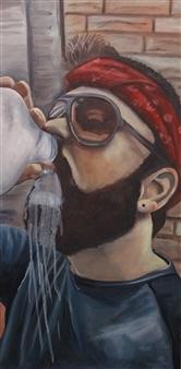 """Milk Drinker Oil on Canvas 30"""" x 15"""""""
