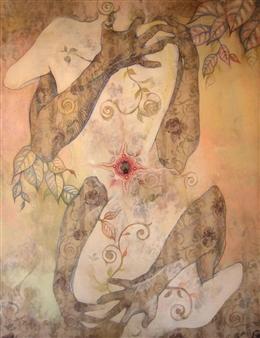 """Abrazo al Cuerpoblanco Acrylic & Oil Pastel on Canvas 111"""" x 90.5"""""""