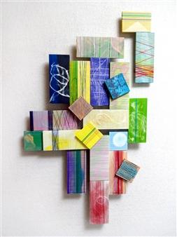 "102 Acrylic & Thread on Wood 22"" x 15"""