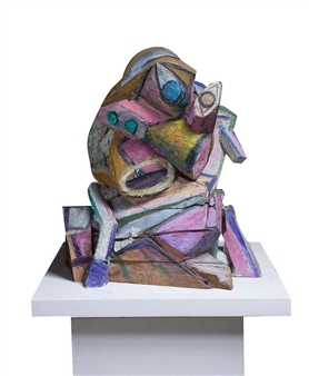 """Hommage à Picasso Painted Bronze and Painted Wood 30"""" x 27.5"""" x 19.5"""""""