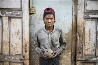 "Boy Holding Ball Archival Pigment Print 30"" x 40"""
