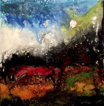 "Eruption Oil, Acrylic, Gesso, Resin on Canvas 48"" x 48"""