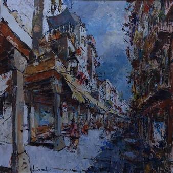 """Born, Barcelona Acrylic on Canvas 39.5"""" x 39.5"""""""